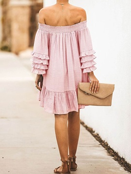 Pleated Off Shoulder Above Knee A-Line Women's Dress