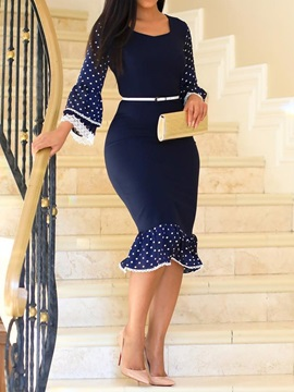Print Mid-Calf Square Neck Polka Dots Office Lady Women's Dress