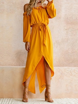 Long Sleeve Ankle-Length Off Shoulder Asymmetrical Women's Dress