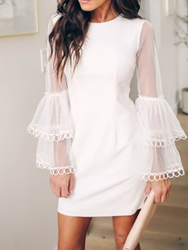 Above Knee Mesh Round Neck A-Line Plain Women's Dress