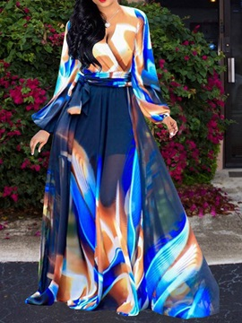 Print Floor-Length Long Lantern Sleeve Expansion Women's Dress