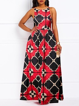 Print Floor-Length Round Neck Geometric Pullover Women's Dress