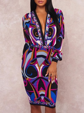 V-Neck Print Knee-Length Geometric Women's Dress