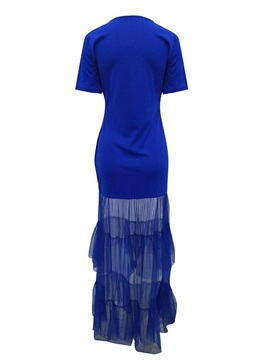 Patchwork Ankle-Length Layered Dress Women's Dress
