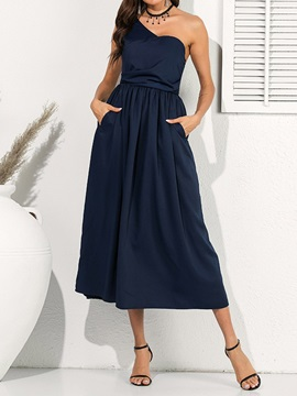 Sleeveless Pleated Mid-Calf Plain Women's Dress