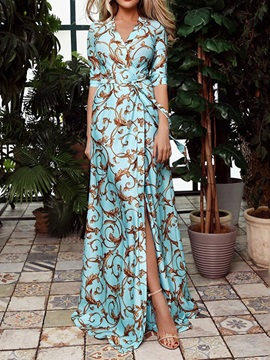 V-Neck Print Floor-Length Summer Floral Women's Dress