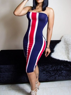 Sleeveless Print Knee-Length Mid Waist Stripe Women's Dress