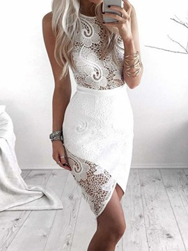 Lace Sleeveless Asymmetric Pullover Women's Bodycon Dress