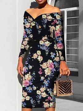 Off Shoulder Button Mid-Calf Ladylike Floral Women