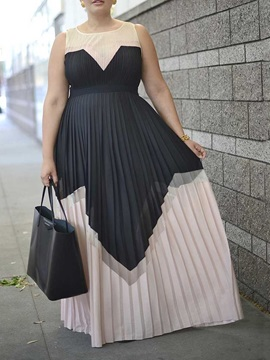 Round Neck Floor-Length Pleated Expansion Pullover Women's Dress