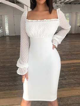 See-Through Square Neck Long Sleeve Women's Pencil Dress