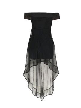 Mid-Calf Off Shoulder See-Through Pullover Women's Dress