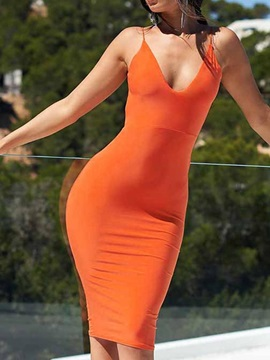 Sleeveless Knee-Length Spaghetti Strap Women's bodycon Dress