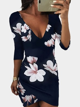 Above Knee 3/4 Sleeve Print Pullover Women's Bodycon Dress