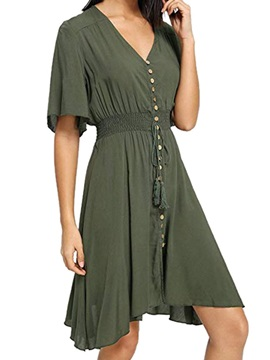 Knee-Length V-Neck Asymmetrical Women's Casual Dress