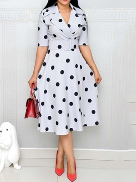 Print Mid-Calf Notched Lapel Pullover Women's Skater Dress