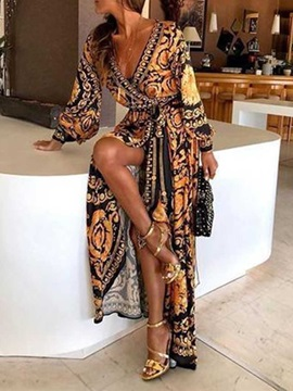 V-Neck Print Long Sleeve Geometric Mid Waist Women's Maxi Dress