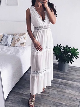 V-Neck Ankle-Length Sleeveless Summer Sexy Women's Dress