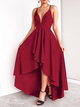 Floor-Length Asymmetric V-Neck Mid Waist Women's Maxi Dress