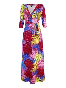 Print V-Neck Floor-Length Plant Women's Maxi Dress