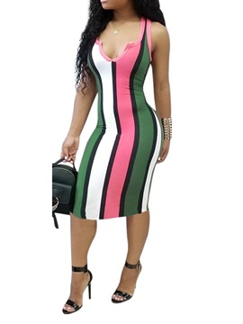 Print Mid-Calf Sleeveless Women's Bodycon Dress