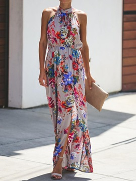 Print Ankle-Length Sleeveless Floral Women's Maxi Dress