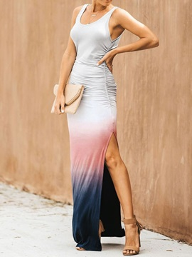 Patchwork Sleeveless Floor-Length Bodycon Women's Maxi Dress