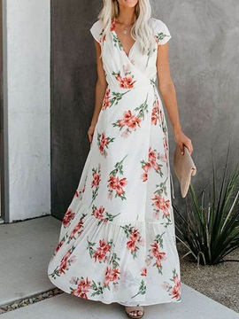 V-Neck Lace-Up Ankle-Length Women's Maxi Dress