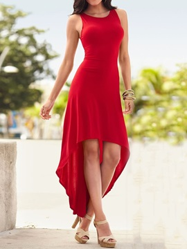 Ankle-Length Asymmetric Casual Sleeveless Women's Maxi Dress