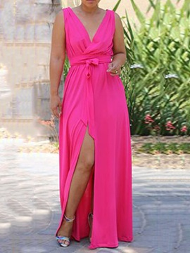 V-Neck Split Floor-Length Pullover Plain Women's Maxi Dress