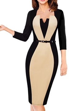 3/4 Sleeve Patchwork Knee-Length Women's Pencil Dress