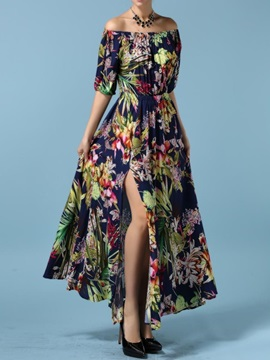 Ankle-Length Print Off Shoulder Pullover Floral Women's Maxi Dress