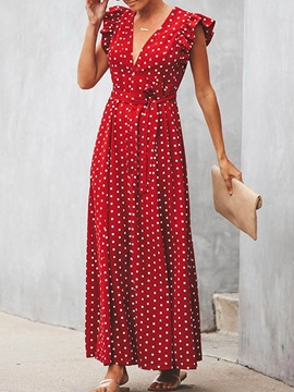 Cap Sleeve Ankle-Length Polka Dots Women's V-Neck Dress