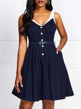 Above Knee Button Sleeveless Vintage Women's V-Neck Dress