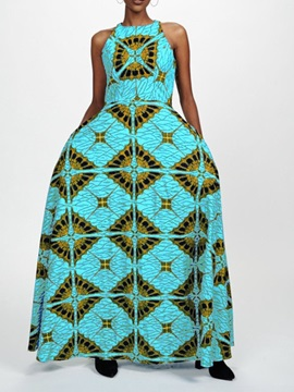 Print Floor-Length Sleeveless Geometric Women's Maxi Dress