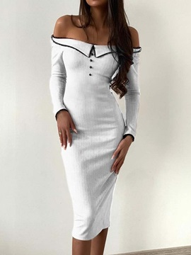 Long Sleeve Mid-Calf Off Shoulder Women's Bodycon Dress