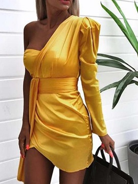 Above Knee Pleated Long Sleeve One-Shoulder Women