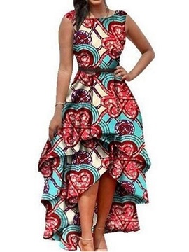 African Fashion Sleeveless Round Neck Ankle-Length Asymmetrical Women's Dress