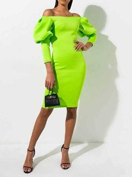 Long Sleeve Off Shoulder Above Knee Women's Bodycon Dress