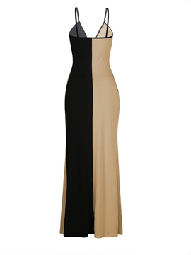 V-Neck Sleeveless Patchwork Color Block Women's Maxi Dress