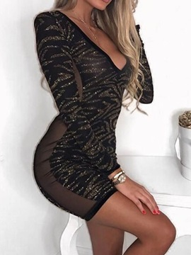 Long Sleeve Sequins Above Knee Women's Bodycon Dress
