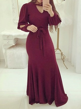 Floor-Length Long Sleeve V-Neck Plain Pullover Women's Dress