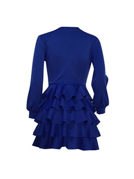 V-Neck Above Knee Pleated Layered Women's Dress