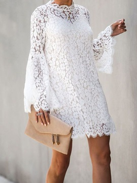 Above Knee Long Sleeve Hollow Lace Floral Women's A-Line Dress