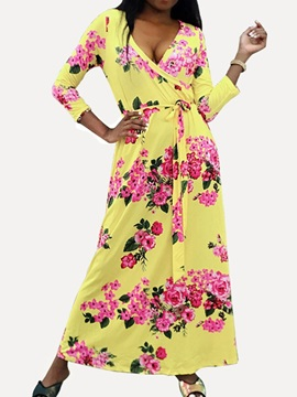 Ankle-Length Print V-Neck Floral Women's Maxi Dress