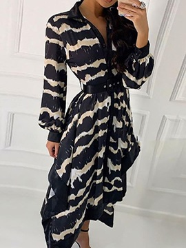 Mid-Calf Long Sleeve V-Neck Women's Maxi Dress