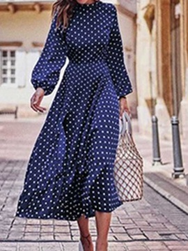 Mid-Calf Stand Collar Print Polka Dots Spring Women's Dress