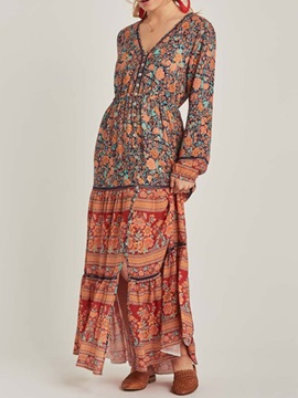 V-Neck Long Sleeve Ankle-Length Bohemian Mid Waist Women's Dress