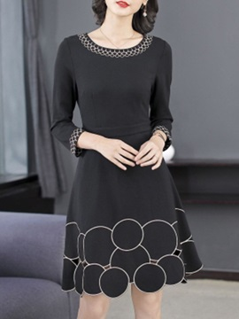 Three-Quarter Sleeve Above Knee Hollow Regular Elegant Women's Dress