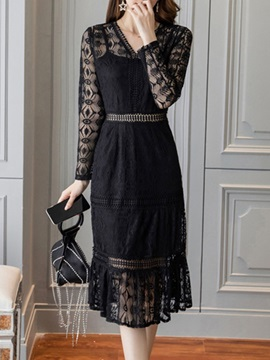 V-Neck Hollow Mid-Calf Pullover Elegant Women's Dress
